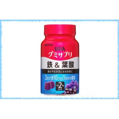 Жевательные мармеладки с железом и фолиевой кислотой, Gummy Supple Iron&Folic acid, UHA, на 10 дней