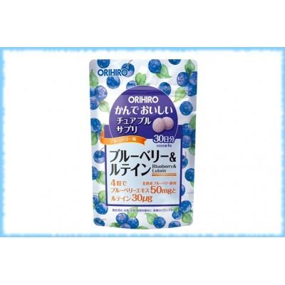 Жевательные таблетки Черника и Лютеин (со вкусом черники), Orihiro, на 30 дней