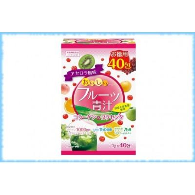 Аодзиру с коллагеном и плацентой, Yuwa, 40 пакетиков * 3 гр.