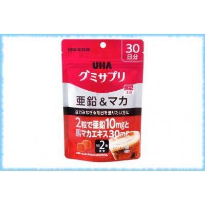 Жевательные конфеты в виде мармеладок Цинк и Мака, Gummy Supple zinc & maca, UHA, на 30 дней