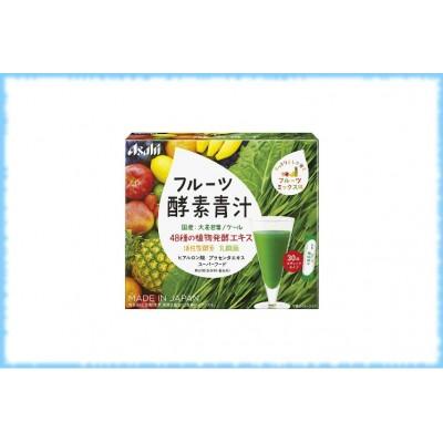 Зеленый напиток с фруктовыми ферментами и гиалуроновой кислотой Fruit Mix Enzyme Green Juice, Asahi, 30 шт.